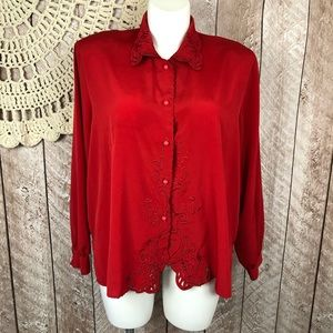 Vintage 2x Yves Saint Clair Red Button Up Blouse
